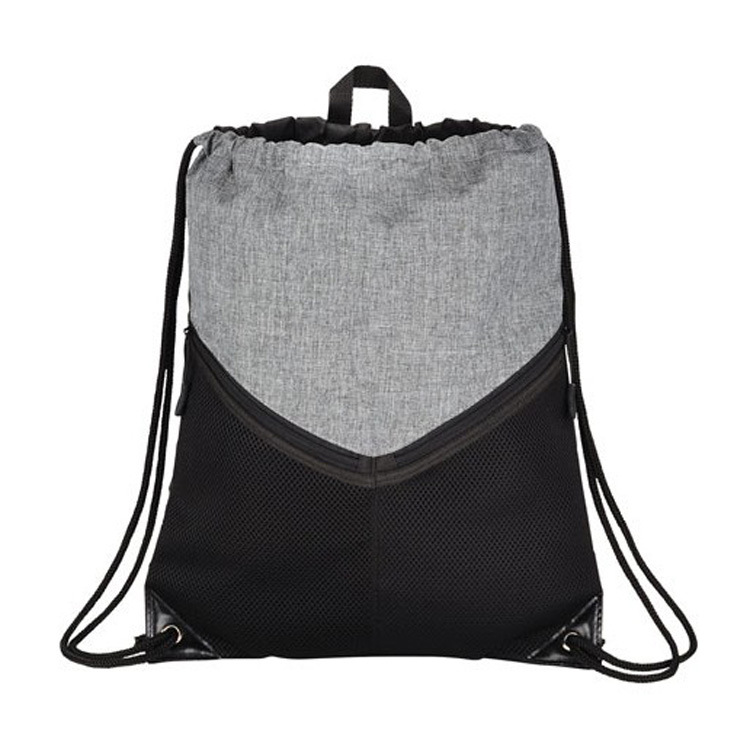 Polyester Material and Rope Handle Style 3 Tone Angled Design Drawstring Sport Bag W/ Zip Pocket