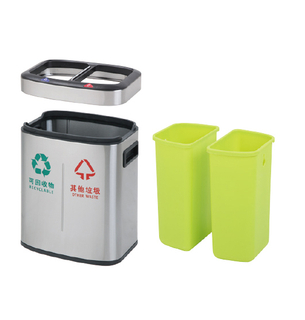 2in1 Rectangle dustbin with 12Liter with open top (KL-8312)