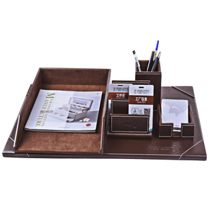 High Quality Exquisite Custom Logo Desk Organizer Set with Pen Holder Briefcase Pen Holder with Custom Logo