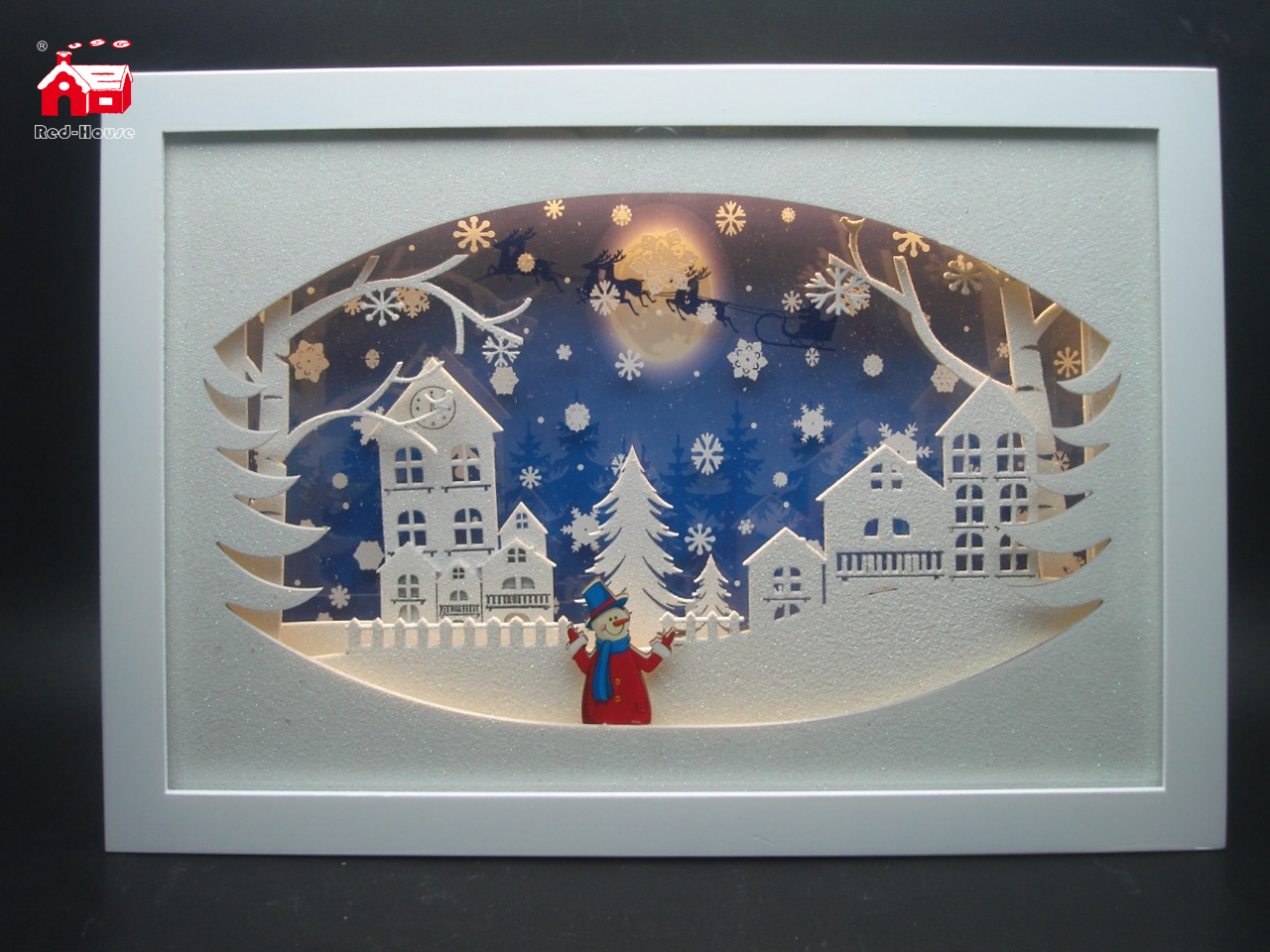 Christmas Decorative Horizontal Rectangle Frame Music Box As Led Home Decoration with Snow Flake Moving And Laser Cut Christmas Scene From Christmas Decoration Supplies