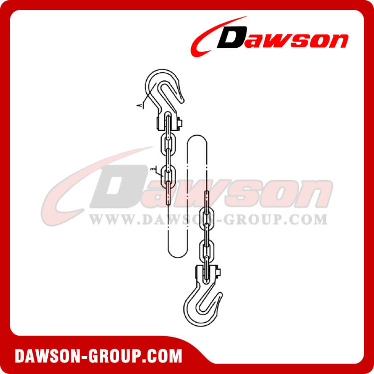 USA Standard Chain Assembly With Clevis Hooks Each End