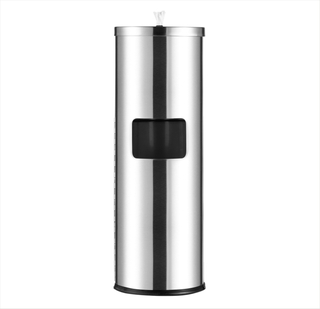 Rounded Stainless Steel Standing Gym Wipes Dispenser
