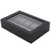Custom Luxury black PU leather wooden multi slots display watch box for men