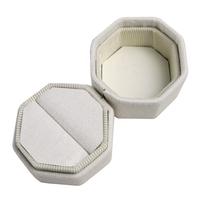Handmade Personalized Custom Luxury Small Vintage Hexagon Velvet Ring Box for Wedding Ring Boxes