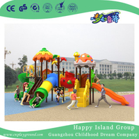 New Outdoor Leaves and Mushroom Roof Children Playground Equipment with Cylindrical Slide (H17-B4)