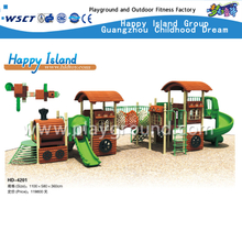 New Design Outdoor Children Train Themed Galvanized Steel Playground with Slide Equipment(HD-4201)