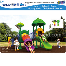 New Design Middle Size Toddler Plastic Tree Roof Set with Tunnel Slide (HC-11001)