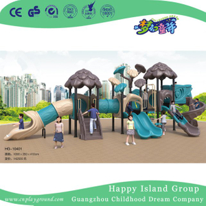 Outdoor Brown Leaves Roof Children Tree House Galvanized Steel Playground Equipment (HG-10401)