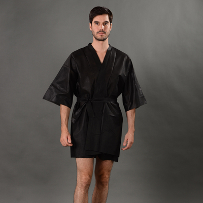 Disposable Nonwoven Sauna Kimono with short sleeve
