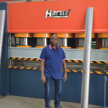 Nigerian door frame embossing machine feedback, HARSLE Steel door production