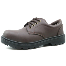 Slip resistant leather men executive safety shoes with steel toe