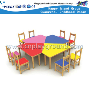 Children Wood Study Table and Chair Combination Set Furniture (M11-07101)
