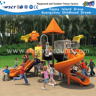 Outdoor Orange Sharp Roof Tree Castle Children Galvanized Steel Playground Equipment(HA-01901)