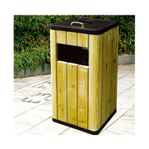 Outdoor Public Wooden Square Trash Can (HHK-15003)
