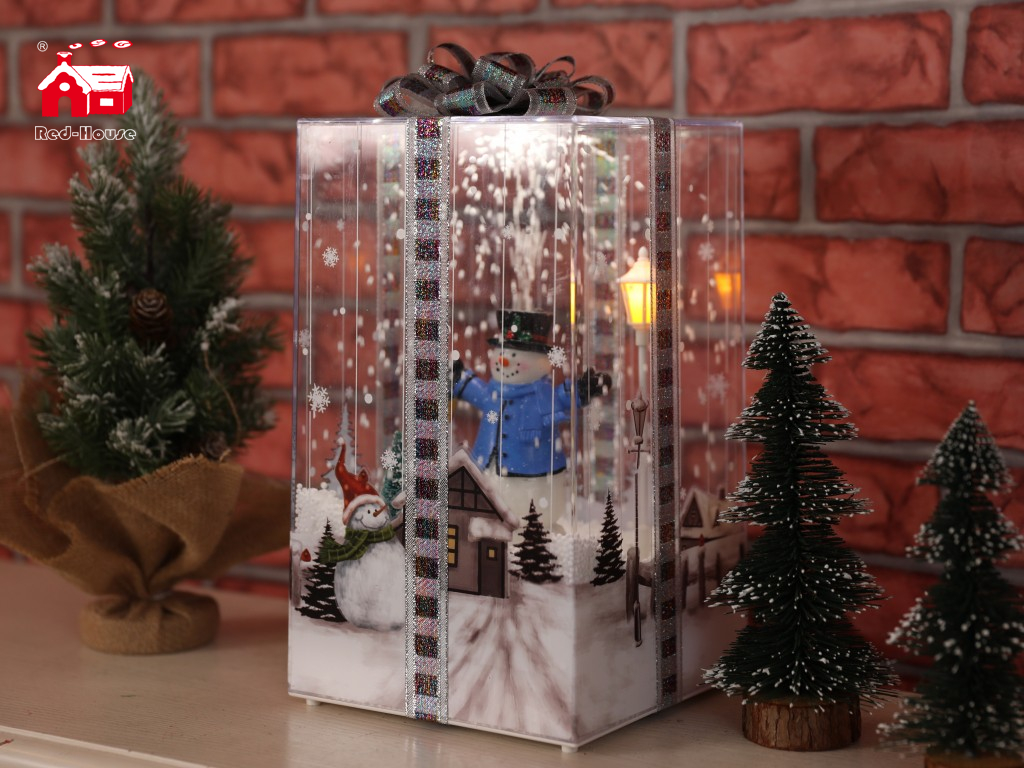 Red House Box-shaped Falling Snow Musical Gift Box for Christmas