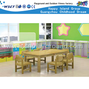 Kindergarten Furniture Equipment Natural Wooden Table for Two (M11-07201)
