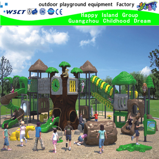 Hot Sale Outdoor Green Jungle Slides combination Playground Equipment With TUV (HK-50004)