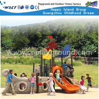 Discount Commercial Simple 2 Layer Orange Children Pirate ship Galvanized Steel Playground(HA-05501)