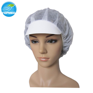 Nonwoven Disposable Bouffant Cap with Peak for Worker