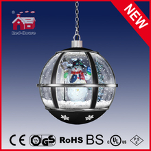 (LH30033H-HS00) Christmas Gifts Black Round Snow Globe Hanging Lamp with LED