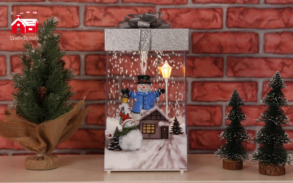 Red House Falling Snow Musical Gift Box for Christmas with Top Cover