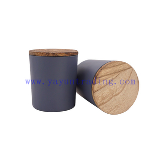 Wholesale Cheap 7oz 210ml Dark Blue Candle Jar And Wooden Top