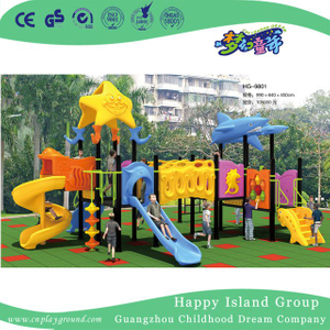 Cartoon Children Galvanized Steel Playground with Ocean Animal (HG-9801)
