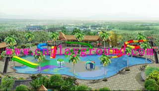 Outdoor Hotel Family Water Park Playground with Slide