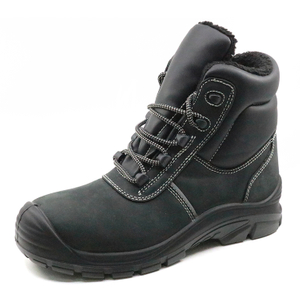 PU injection nubuck leather fur lining winter safety shoes steel toe cap