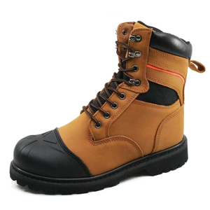 8 inch yellow nubuck leather rubber sole steel toe cap goodyear safety boots