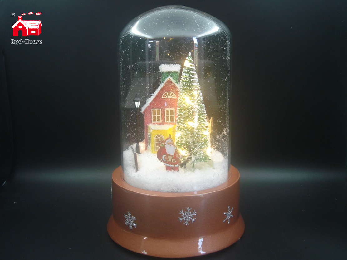 Christmas Musical Long Shape Glass Globe with Revolving Tree inside for Decoration And Gift