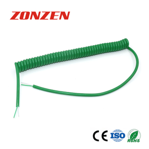 CC-K Spring Coiled Retractable Cable With 2 Open Ends For Thermocouple