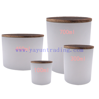 Wholesale 100ml 300ml 450ml 700ml white glass candle jars with wood lids cover