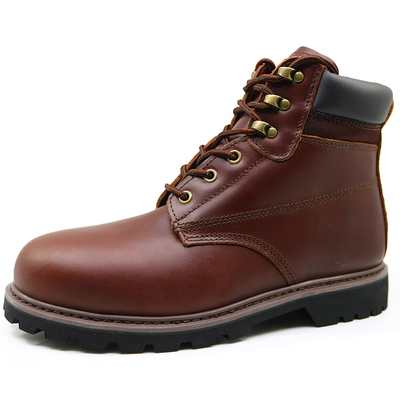 Full grain leather goodyear welted safety boots steel toe cap