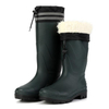 Green non safety anti slip fur lining men winter pvc rain gumboots for work