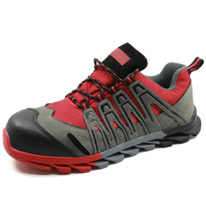 Red slip resistant fashionable women safety shoes sport
