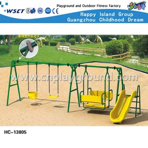 Amusement Park Kids Swing Equipment with Slide (HC-13805)
