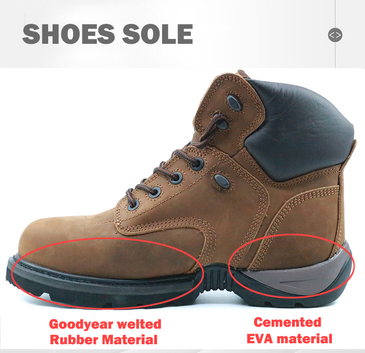 Brown crazy horse leather lightweight steel toe goodyear safety shoes
