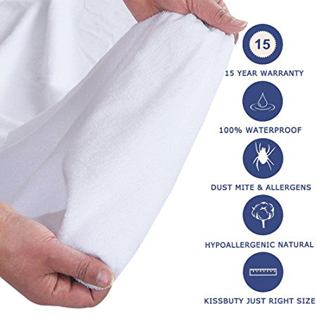 100% Waterproof Mattress Protector - Fitted 18 Inches Deep Pocket - Vinyl Free - Queen