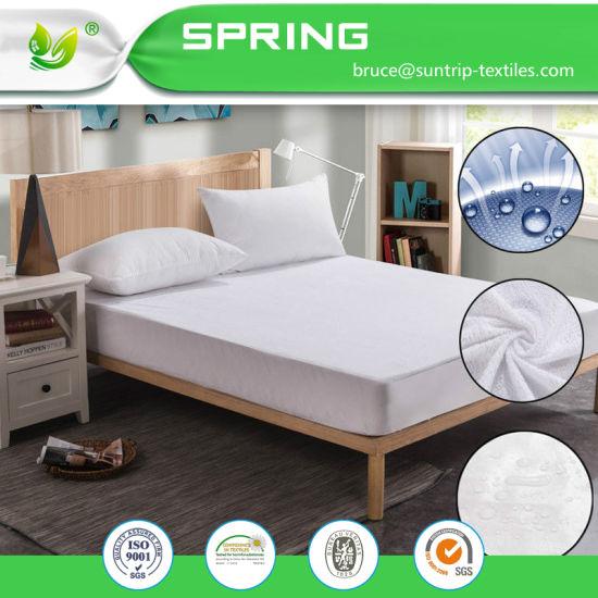 Cotton Terry Mattress Protector Waterproof Hypoallergenic Vinyl Free Bed Cover