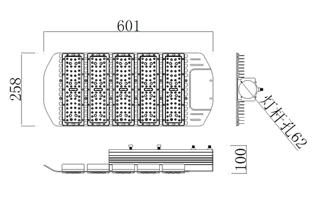 size diagram of 250W led street lamp