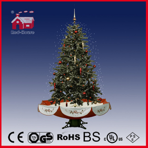 (40110U150-RS) Red Base Colorful Delicate Ornaments Snowing Christmas Tree with LED
