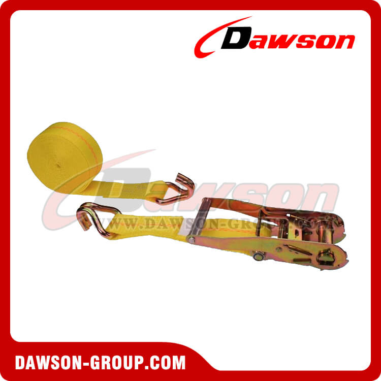 "2"" x 27' Custom Polyester Ratchet Tie Down Lashing Strap with Double J-Hook"