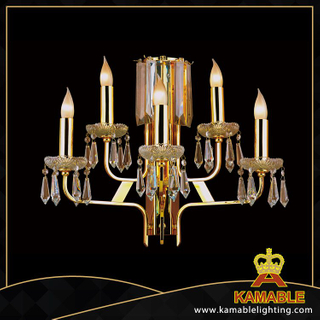 Gold Chinese candle crystal hotel wall lighting(YHwb2515-L5)