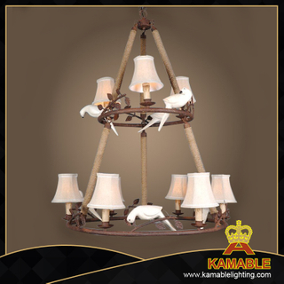 Traditional antique gold iron frame hotel pendant light(GD1134-6+3)