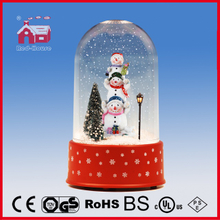 (P18030-3S1) Lovely Snowmen Family Snowing Decoration Christmas Crafts with Transparent Case