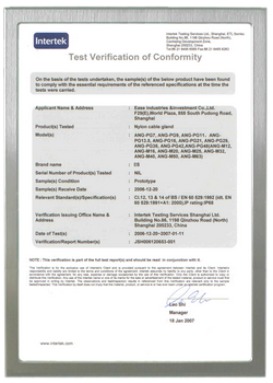 IP68 TEST CERTIFICATE FOR NYLON CABLE GLAND