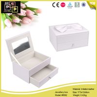 White Pink PU leather Bow Tie In Top Mirror Drawer jewelry Box