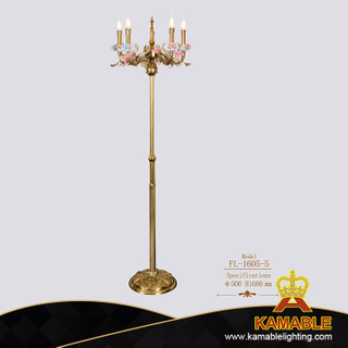 Hotel Home Decorative Ceramic Flower Brass Stand Floor Lighting (FL-1605-5)