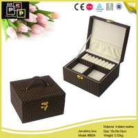Brown Flower Vintage PU leather MDF Core Velvet Inside Jewelry Box